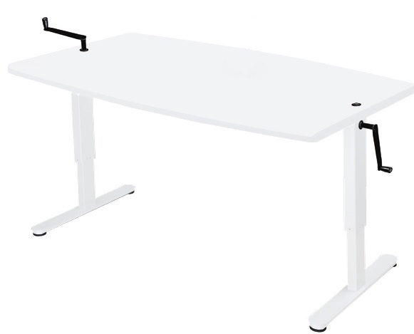 Manual, height adjustable desk