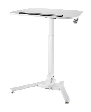 Mobile, sit to stand, adjustable tilting work station.